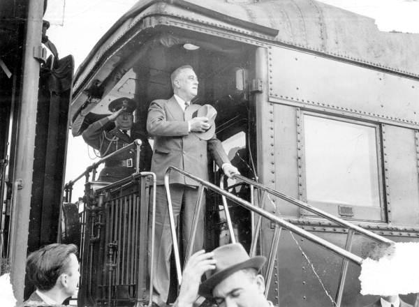 President Franklin D. Roosevelt aboard train: Jacksonville, Florida