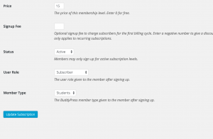 Set a user's Member Type based on the subscription